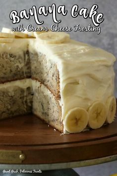 Banana Cake with Cream Cheese Frosting is a moist and delicious banana cake recipe frosted with a delicious cream cheese frosting. # Easy Recipes sweets Banana Cake with Cream Cheese Frosting Banana Bread Recipes, Easy Cake Recipes, Frosting Recipes, Best Banana Cake Recipe Moist, Homemade Banana Cake Recipe, Cake Frosting Recipe, Simple Recipes, Banana Bread Cake, Banana Flour