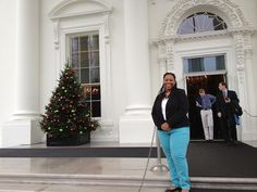 Jeanine Hays in front of @The White House.  #whsocial