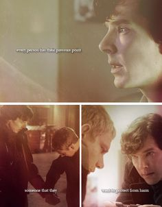 """I love Sherlock and John's friendship. Everyone tries to make it """"Johnlock"""". But I think there's something beautiful about showing this kind of sacrificial love for a friend. Sherlock Holmes Bbc, Sherlock Fandom, Sherlock John, Moriarty, John Watson, Johnlock, Martin Freeman, Virginia Woolf, Benedict Cumberbatch"""