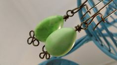 Vintage Mint Green Stone Beaded Antiqued Brass Earrings by SalvagedJewelry, $24.00