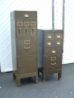 Vintage  Metal File Cabinets - Army Olive Drab and Brass. #YandEManufacturingRochesterNY