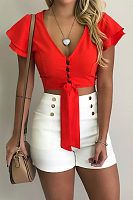 Sexy V-Neck Short Sleeve Button Women Crop Top Blouse Shirt Lumbar Bandage Pure Colour Summer Outfits, Casual Outfits, Cute Outfits, Girl Fashion, Fashion Outfits, Womens Fashion, Sequin Party Dress, Crop Blouse, Beachwear