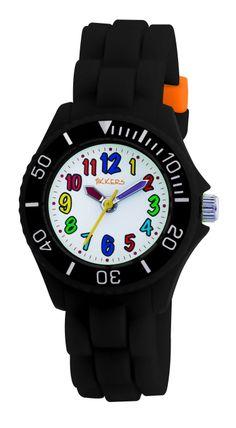 Stoer, dit zwarte horloge van het merk Tikkers. De kleur is stoer, maar door de gekleurde cijfers wordt het toch weer een vrolijk kinderhorloge.