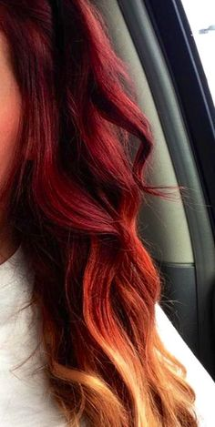 Red to blonde ombré hair color...I'd love to do this to my hair, I may have to have a dabble!