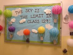 Re-create this hot air balloon themed bulletin board using some of the different sizes and colors of paper lanterns available from TCR