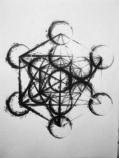 art of Metatron's Cube.could also use coffee rings. Tatoo Art, Body Art Tattoos, Tattoo Drawings, Tatoos, Sacred Geometry Symbols, Sacred Geometry Tattoo, Tatoo Manga, Herren Hand Tattoos, Geometric Sleeve Tattoo