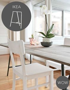 Rustic tabletop with Ikea 'Lerberg' trestles & 'Janinge' chair
