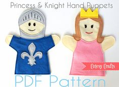 Felt Hand Puppets Pattern  Princess and Kinght | Etsy