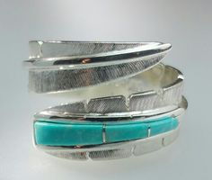 Feather Ring with Sleeping Beauty Turquoise - Feather Collection - Kirk Jewelry