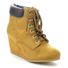 SODA INSO-S Women's Stitching Lace Up Comfort Wedge Ankle Booties >>> Visit the image link more details.