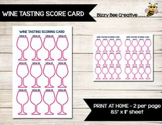 WINE TASTING | Score Card | Scoring Card | Direct Sales | Home Party | Tally Sheet | Tracker by BizzyBeeCreative on Etsy