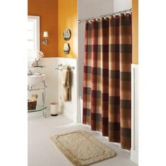 Better Homes and Gardens Multi Plaid Shower Curtain, Warm, Brown
