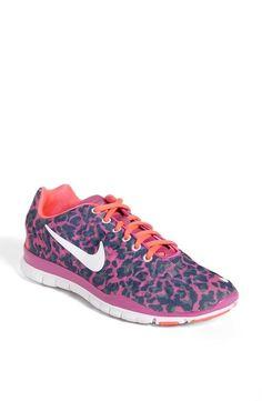 Pink, Cheetah Print Nike Free Training Shoe