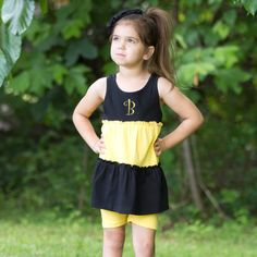 Lolly Wolly Doodle Black Yellow Tank Top Bike Shorts Set 6/6