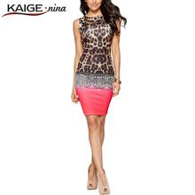 KAIGE NINA Women Sexy Leopard Dress Casual Off the shoulder Fashion Dress Mini Sleeveless Sheath Plus Size Dress Vestido 2288(China (Mainland))