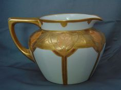 "Jean Pouyat (JP) Limoges Arts & Crafts Etched Gold Floral Design Cider/Lemonade Pitcher (Signed ""M.C.V.""/c.1910-1930)"