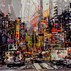 Living the Fast Lane door Paco Raphael - Te huur/te koop via Kunsthuizen. Space Photography, Urban Photography, Landscape Artwork, Urban Landscape, A-level Kunst, Environment Topic, Gcse Art Sketchbook, Sketchbooks, Urbane Kunst