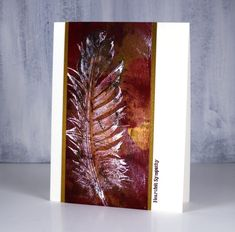 Gelli print feather by Heather T - Cards and Paper Crafts at Splitcoaststampers Feather Cards, Gelli Plate Printing, Gelli Arts, Computer Paper, Paper Strips, Thanksgiving Cards, Feather Print, Old Paper, Sympathy Cards