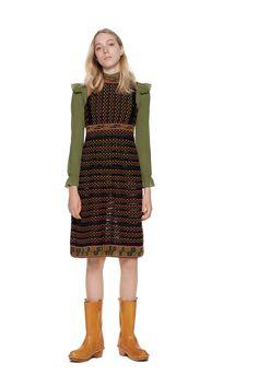 CREPE SHIRT & PAWL-KNIT DRESS