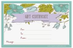 Free printable and editable gift certificate templates makeup light blue border with blue and green flowers and a lavender ribbon yelopaper Choice Image