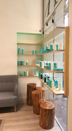 Ateliers Beauty Perruquers. Our work for a fresh and naturally hair saloon with mint touch! Design by Arquivistes, Barcelona - Spain