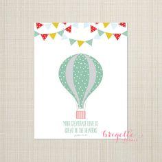Bible Verse Wall Art Print / Children / Nursery / Gender Neutral / Psalm 57:18 / Hot Air Balloon