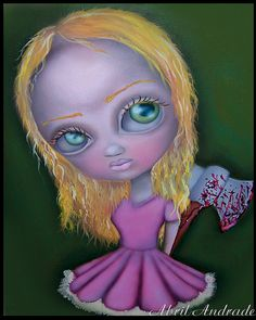 Painting ,Abril Andrade , big eyes, pop surrealism, fantasy art , kids room, home decor, creepy, cute, lowbrow art, wall decor, sweet, purple, whimsical ,retro ,vintage, fairy, fairie, blue, fantasy , story, axe, , murder, horror, ojos grandes,