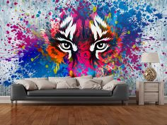 Tiger Art wall mural room setting