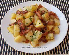 Cartofi taranesti - Bunătăți din bucătăria Gicuței Romanian Food, Romanian Recipes, Fruit Salad, Potato Salad, Side Dishes, Good Food, Food And Drink, Potatoes, Vegan