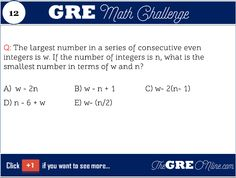 Math Challenge: what is the smallest number in terms of w and n ? - Online GRE Revised