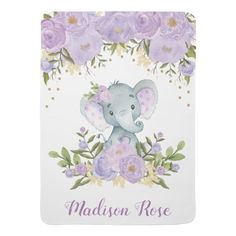 Shop Purple & Gold Floral Elephant Nursery Baby Girl Baby Blanket created by BlueBunnyStudio. Elephant Nursery Girl, Elephant Baby, Girl Nursery Purple, Elephant Gifts, Soft Baby Blankets, Fleece Blankets, Floral Nursery, Newborn Baby Gifts, Newborn Babies