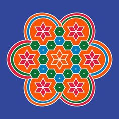 Dot Rangoli Designs With Dots and Colours Step By Step