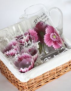 Hand painted pink floral Pitcher and matching glasses by Judi Painted it. Glassware set is $75. Great gift for new home owners, friends, birthdays, holidays, and much more! Free personalization on all orders! Glassware is top rack dishwasher safe.View and place orders at http://judipaintedit.com or http://www.etsy.com/shop/JudiPaintedit?ref=top_trail