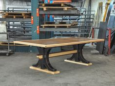 New Industrial Trestle table design by Vintage Industrial Furniture in Phoenix.
