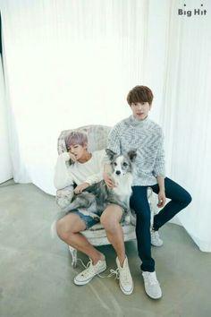 BTS V & Jin awe look at the cute dog  Jin seems like a big dog kind of guy