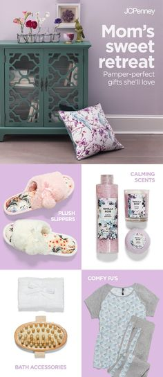 If anyone deserves a spa day, it's Mom. Treat her this Mother's Day with gifts that bring the spa to her. Pair comfy pajamas and soft slippers to make her mornings the coziest. Up the pamper power with the perfect sit-back-and-relax gift set—plush towels, scented candles and calming bath soaps and accessories. Find everything you need at JCPenney to give Mom the day she totally deserves.