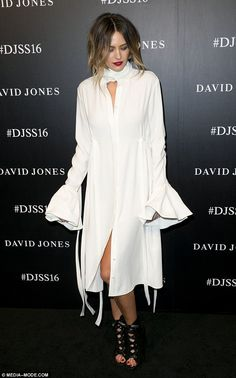 Jesinta Campbell cuddles up to Franklin as he supports her at the David Jones fashion launch | Daily Mail Online