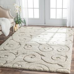 nuLOOM Soft and Plush Curves Ivory/ Beige Shag Area Rug - Overstock Shopping - Great Deals on Nuloom - Rugs Blue Kitchen Tables, Kitchen Rug, Kitchen Design, White Rug, Cool Rugs, Bath Rugs, My Living Room, Online Home Decor Stores, Rugs On Carpet