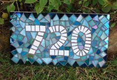 BlueDiamond Border Mosaic House Number by JooolesDesign on Etsy, $110.00