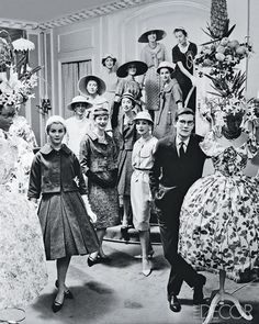 A 1953 Rizzo image of Yves Saint Laurent with his first collection for Christian Dior
