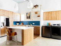 Blue Scalloped Tile for Eclectic Kitchen | Fireclay | Fireclay Tile