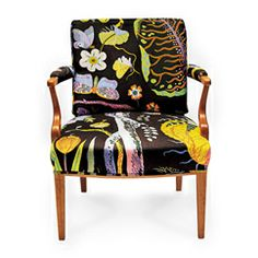 Josef Frank armchair design from Based off chairs from Love Swedish design since I'm Swedish and would love a couple of these chairs mixed in with my dining room chairs. Funky Furniture, Oriental Furniture, Swedish Design Sofa, Armchair, Swedish Furniture Design, Upholstered Furniture, Swedish Furniture, Swedish Interior Design, Furniture Design