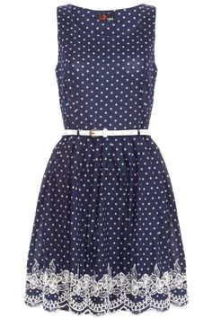 Yumi 'Dotty About You' cotton prom dress has polka dots print, pretty embroidery around hemline with scalloped edges.