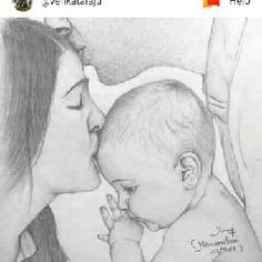 Mom and Baby Pencil Drawing Images, Art Drawings Sketches Simple, Girl Drawing Sketches, Dark Art Drawings, Girly Drawings, Art Drawings Beautiful, Beautiful Sketches, Abstract Pencil Drawings, Beautiful Beautiful