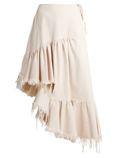 Ruffle-panelled asymmetric denim midi skirt | Marques'Almeida | MATCHESFASHION.COM US