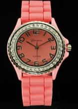 Crystal Large Round Face Coral Silicone Watch www.sterlingjewelrystores.com