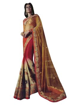 Buy Now Mustard-Red Viscos Georgette with Net Pallu Half Half Wedding Saree with Heavy Work Blouse only at Lalgulal.com  Price :- 8,512/- inr. To Order :- http://bit.ly/1p7n9kN. COD & Free Shipping Available only in India. #sarees #weddingsaree #saris #weddingwear #bridalwear #halfandhalf #allthingsbridal #bridalsuits #ethnicfashion #celebrity #shopping #fashion #bollywood #india #indiafashion #bollywooddesigns #onlineshopping #designersaree #partywear #collection #designechoice #wedding