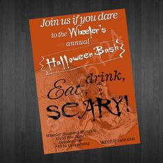 Skull Halloween Invitation by studio5124 on Etsy