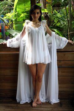 Bridal Lingerie Robe Wedding White Nylon Peignoir Peasant Sleeve Full Sweep Tie Front Dressing Gown. $125.00, via Etsy.