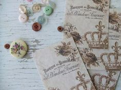 Small notecards - mini notecards - Shabby Chic - crown - sepia - French notecards - embellishments on Etsy, $6.00